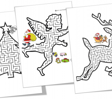 Božićni labirinti za printanje