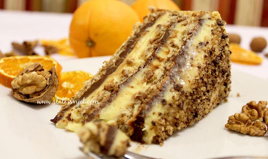 Čoko-vanilin torta s orasima