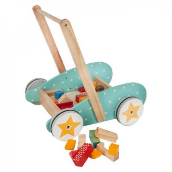 drvena kolica za guranje s kockicama